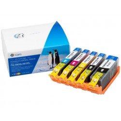 Pack de 5 cartouches PREMIUM de marque G&G compatibles PGI-580XXLBK(PG)/581XXLBKCMY